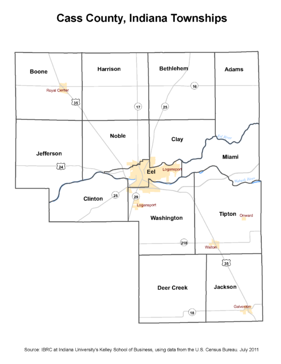 Township Map of Cass County, Indiana